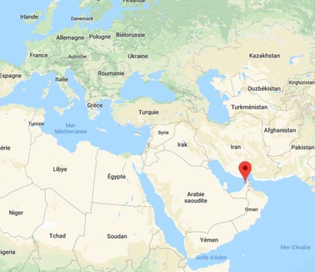 Dubaï sur une carte du monde