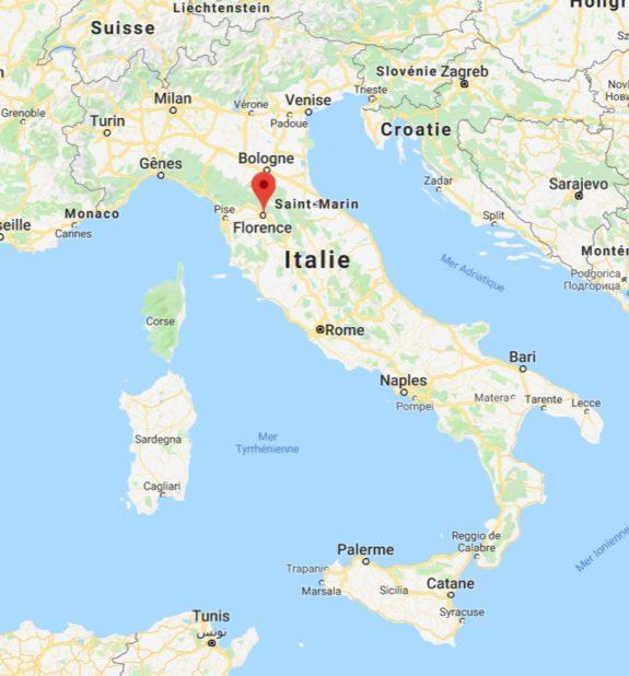 Florence sur une carte de l'Italie