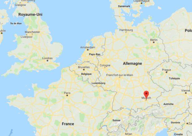 Munich sur une carte de l'Allemagne