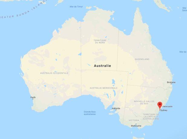 Sydney sur une carte de l'Australie