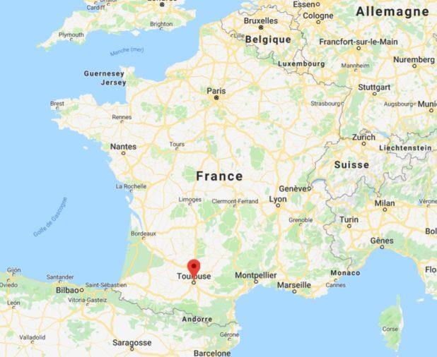 Toulouse sur une carte de France