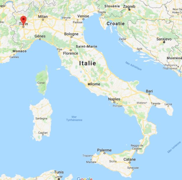 Turin sur une carte de l'Italie