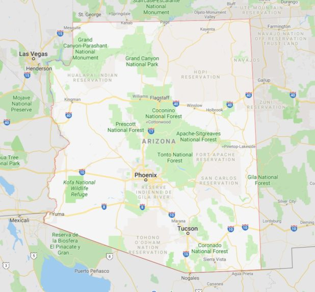 Carte de l'Arizona