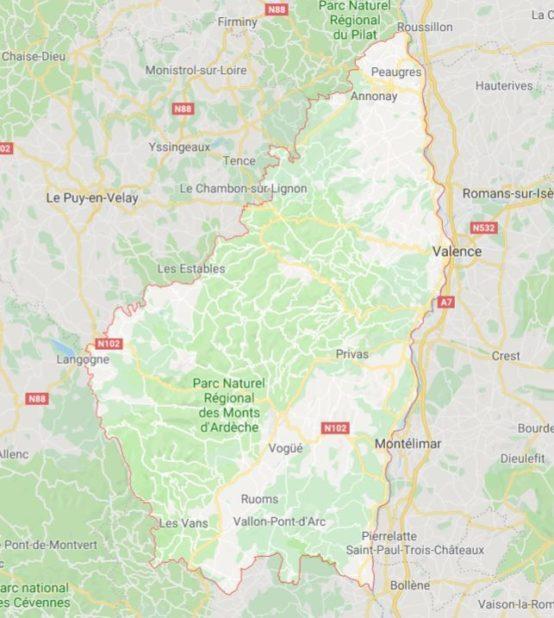 Carte d'Ardèche