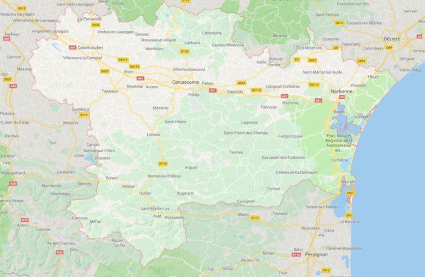 Carte des villes de l'Aude