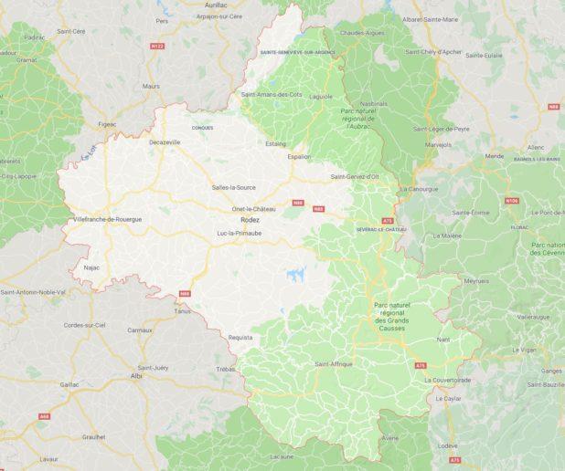 Carte des villes de l'Aveyron