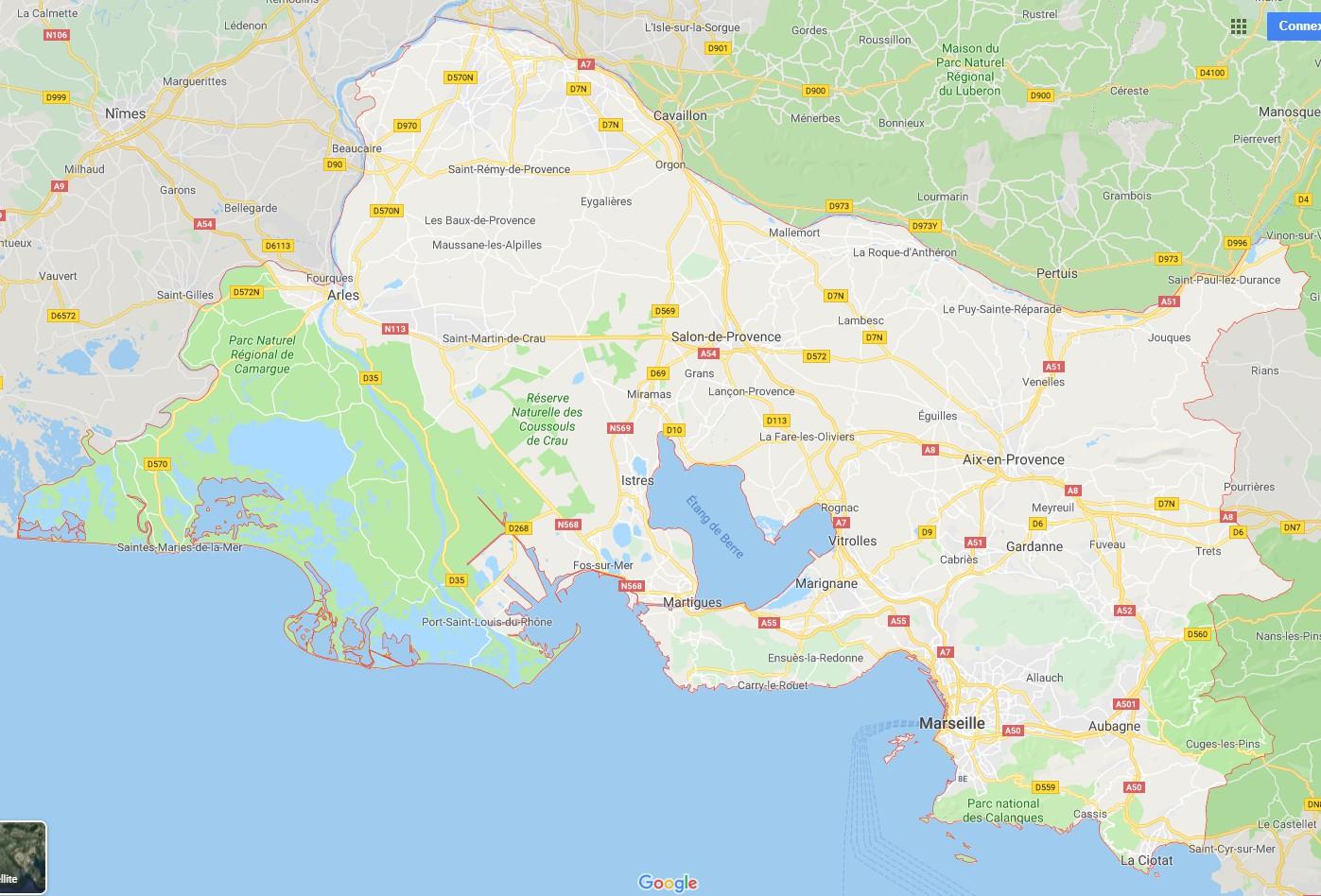 Carte Des Bouches Du Rhône Communes Détaillée Relief