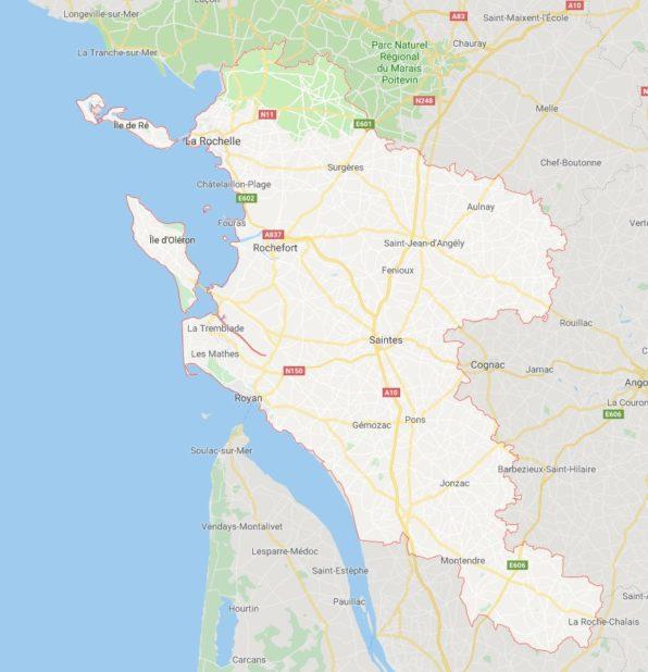 Carte des villes de Charente-Maritime