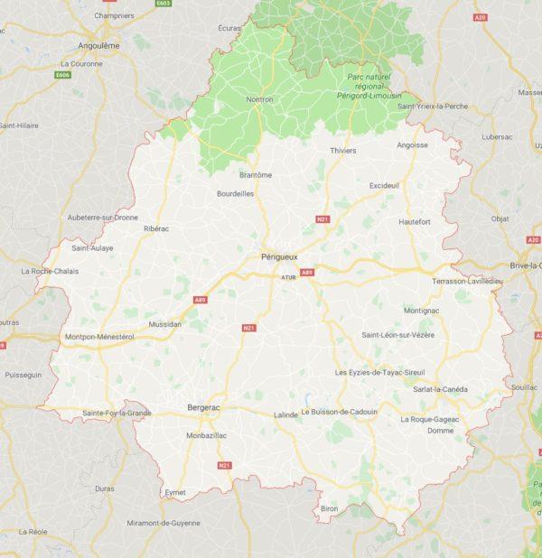 Carte des villes de la Dordogne