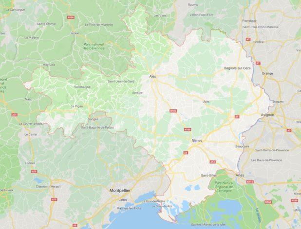 Carte des villes du Gard