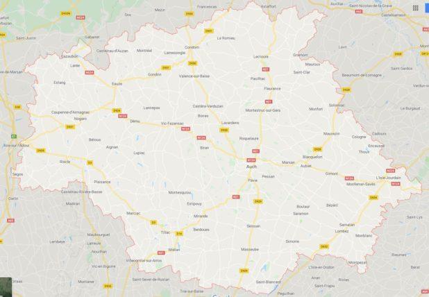 Carte des villes du Gers