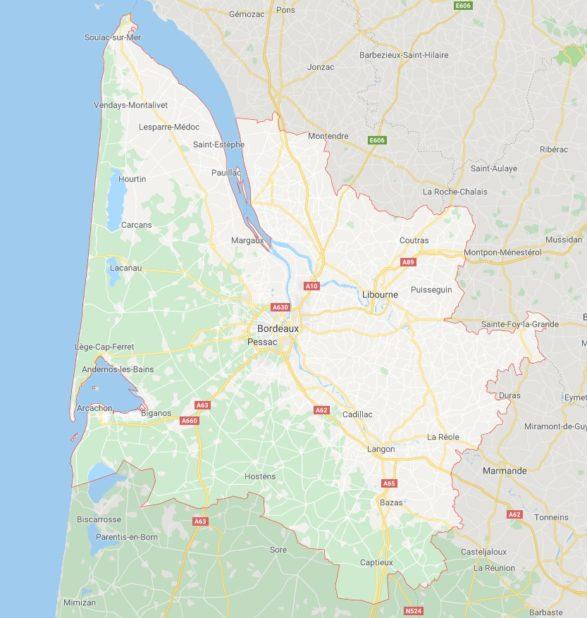 Carte des villes de Gironde