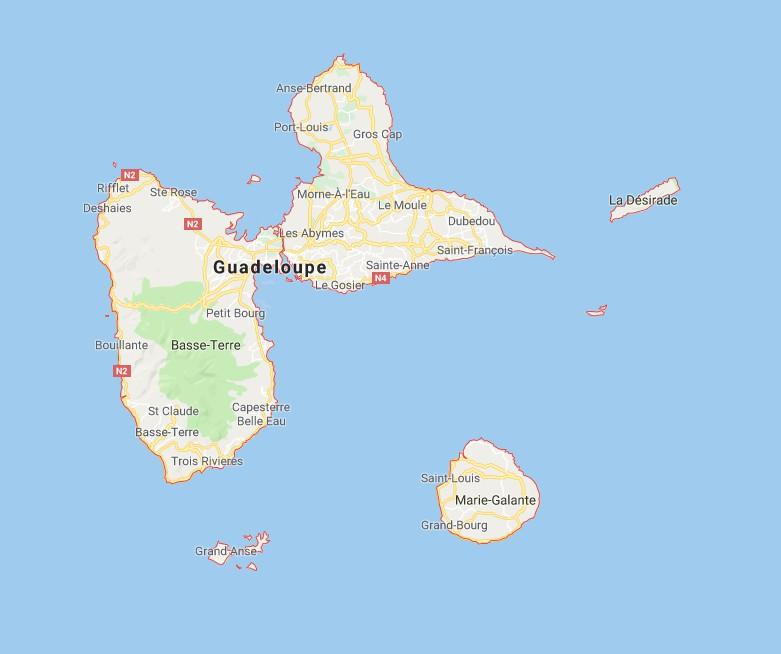 guadeloupe sur carte du monde