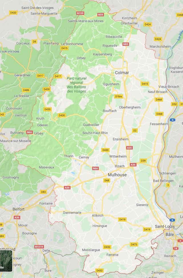 carte alsace haut rhin Carte du Haut Rhin   Haut Rhin carte du département 68   villes