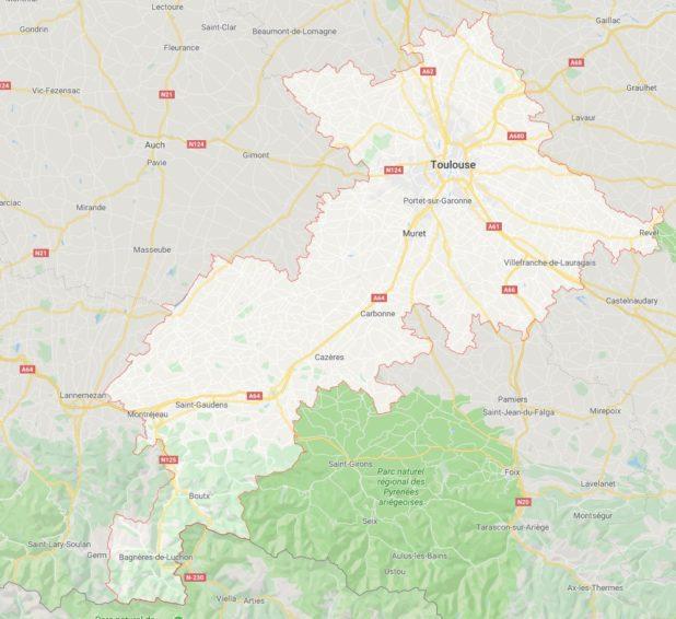 Carte des villes de Haute-Garonne
