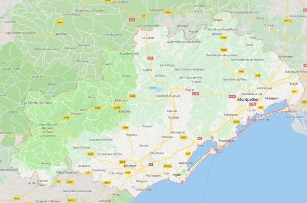 Carte des villes de l'Hérault