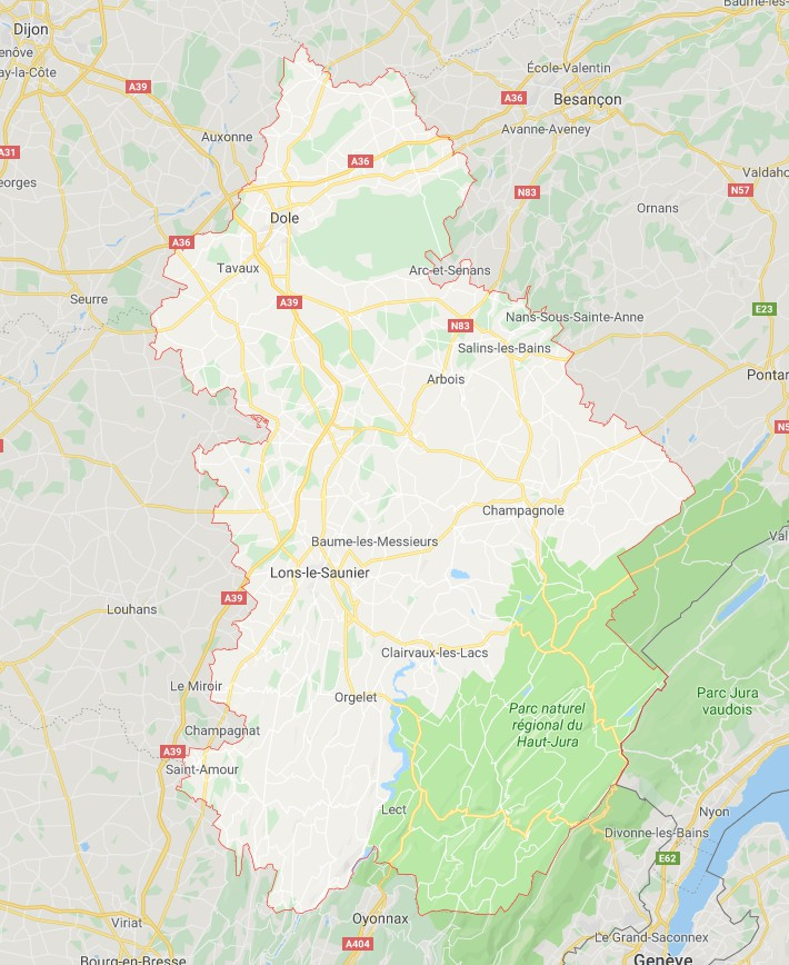 Carte du Jura - Jura carte des villes, communes, relief, sites touristiques