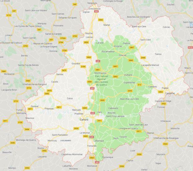 Carte des villes du Lot