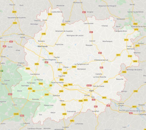 Carte des villes du Lot-et-Garonne