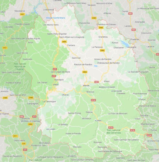 Carte des villes de la Lozère