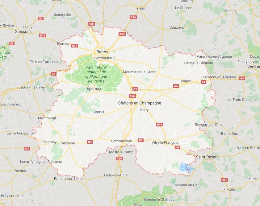 Carte de la Marne - Marne carte des villes, communes, sites touristiques