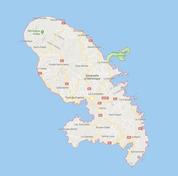 Carte des villes de la Martinique