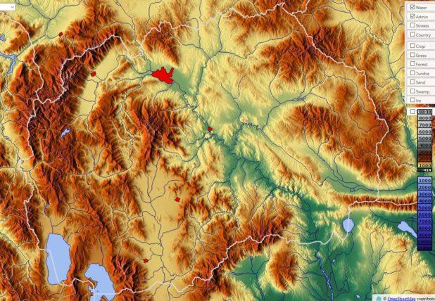 Carte du relief de la Macédoine