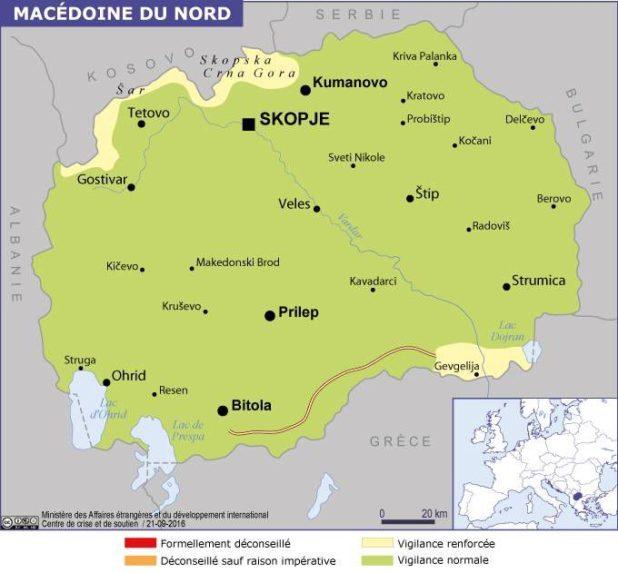 Carte des villes de la Macédoine