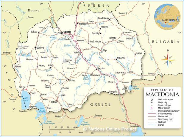 Macédoine sur une carte
