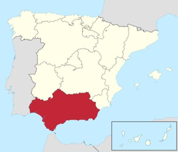 Andalousie sur une carte de l'Espagne