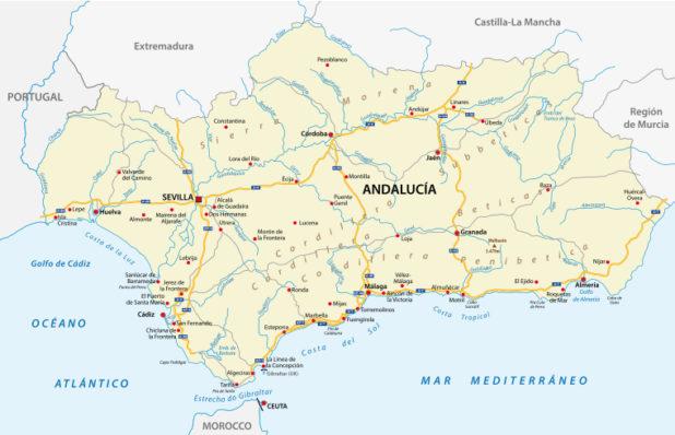 Carte de l'Andalousie