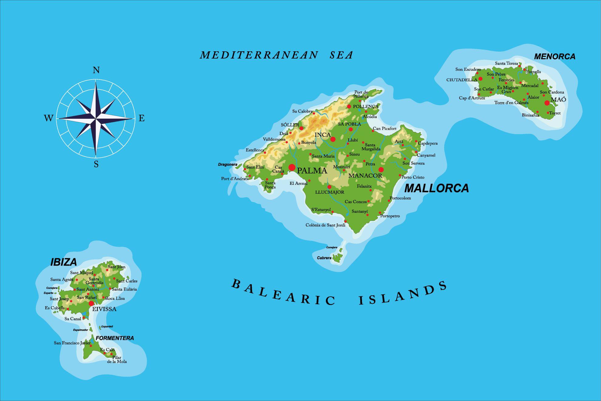 Carte des Baléares