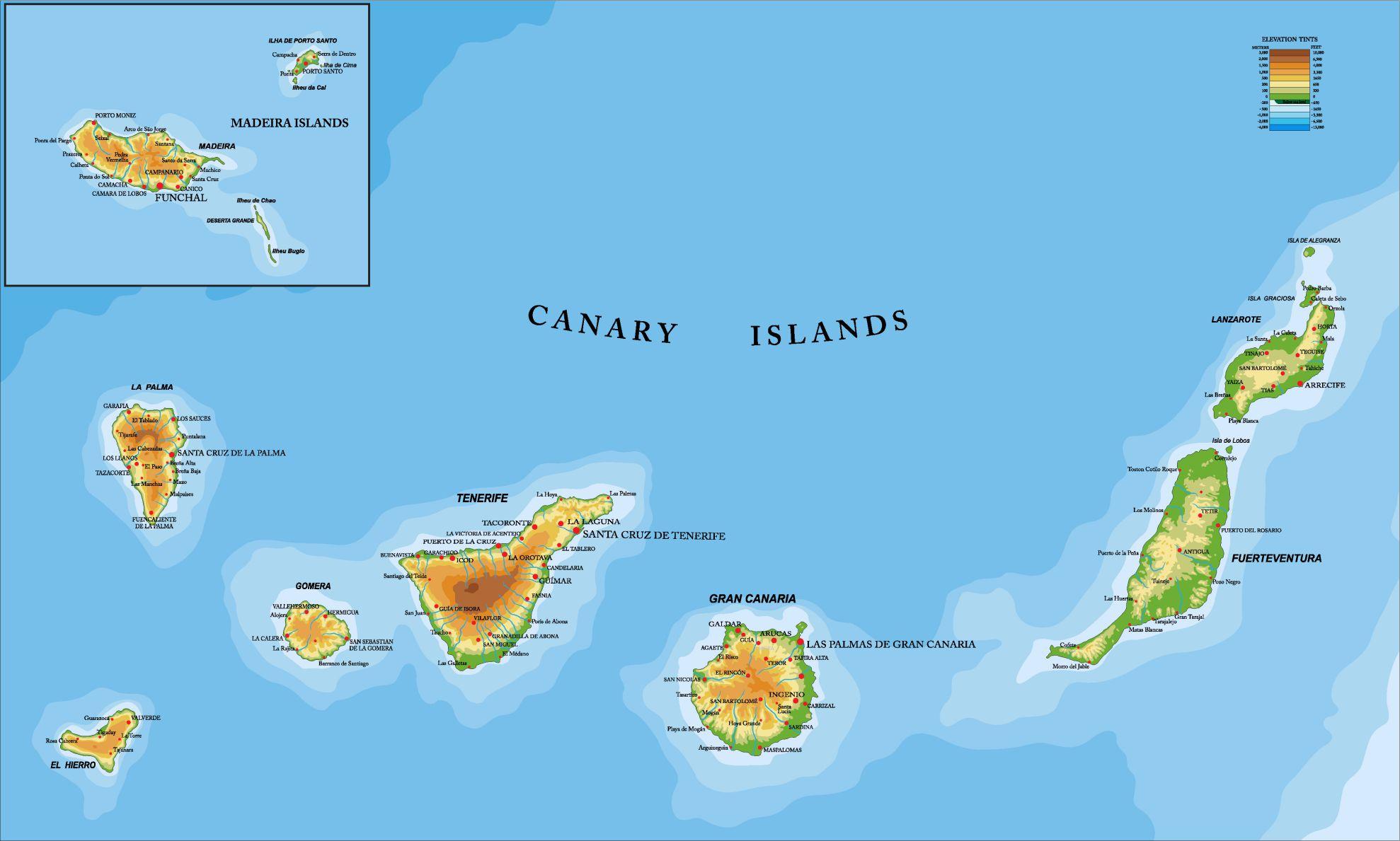 Carte des îles Canaries