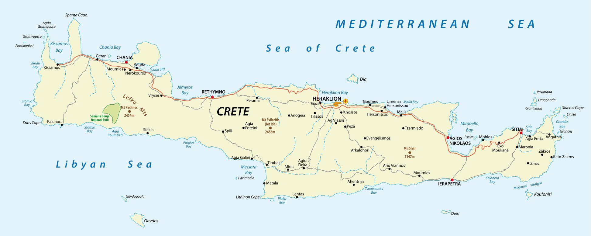 Carte de la Crète (Grèce)