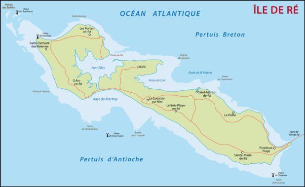 Carte de l'île de Ré en France