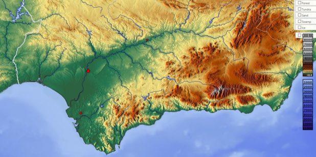 Carte du relief de l'Andalousie