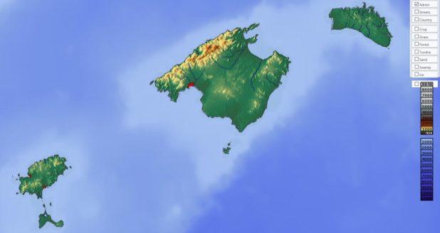 Carte du relief des Îles Baléares