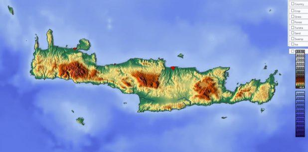Carte du relief de la Crète