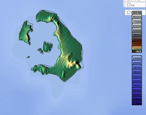 Carte du relief de Santorin