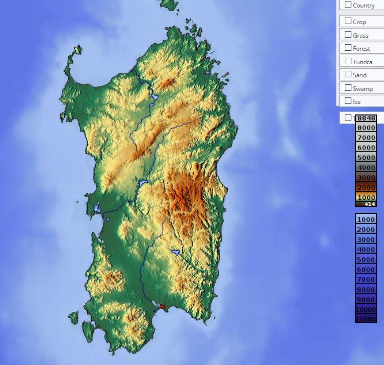 Carte du relief de la Sardaigne