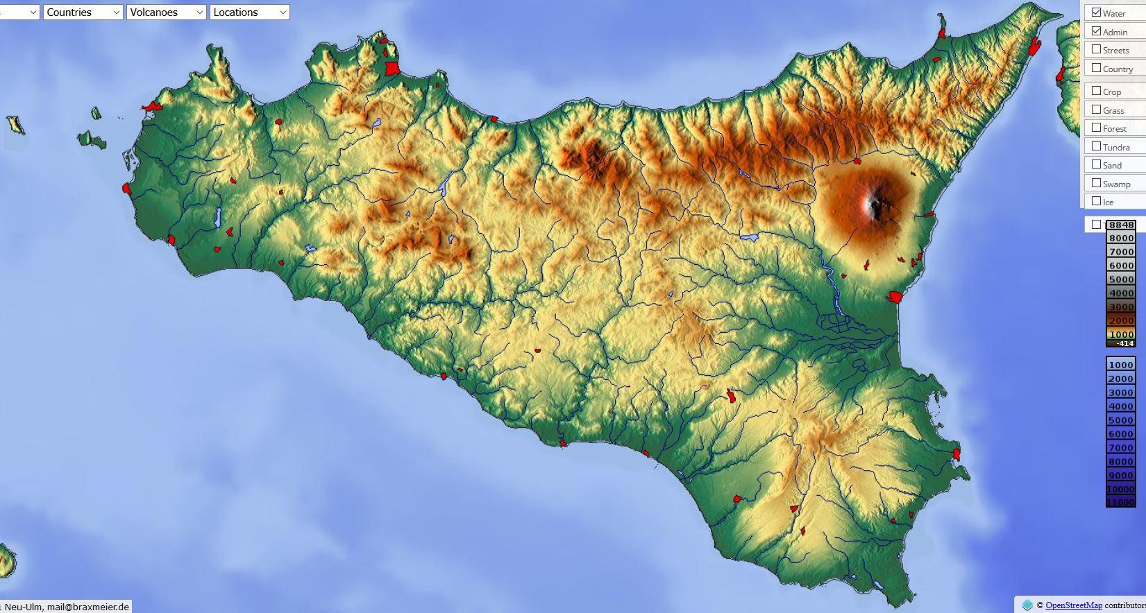 Carte du relief de la Sicile