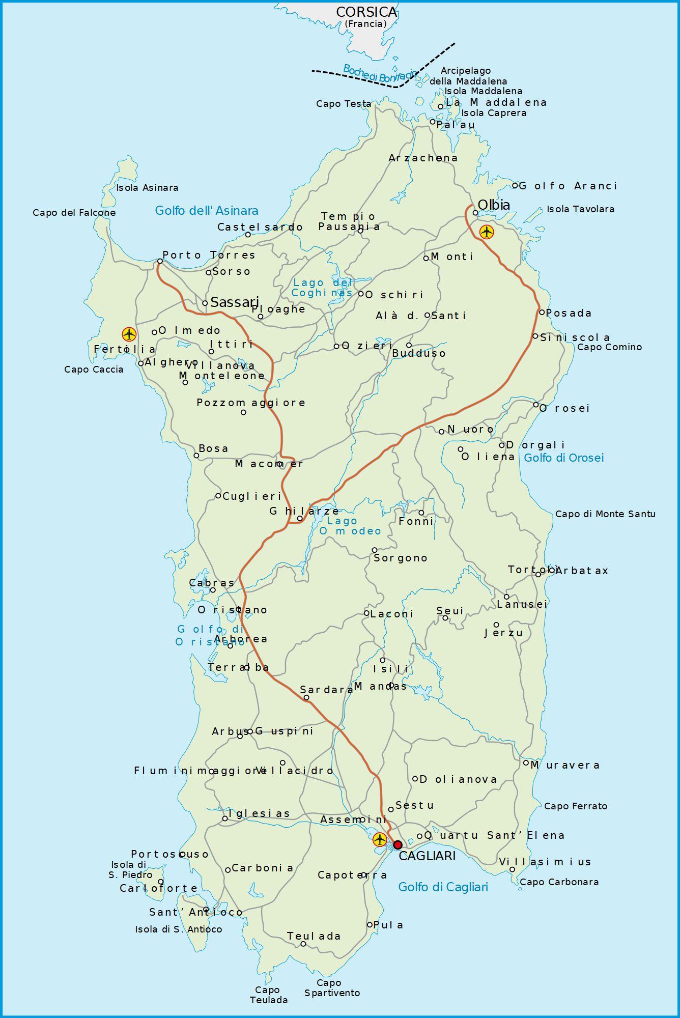 Carte de la Sardaigne en Italie