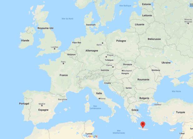 Emplacement Crète sur une carte d'Europe