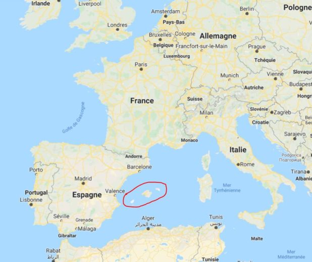 Les Îles Baléares sur une carte de l'Europe