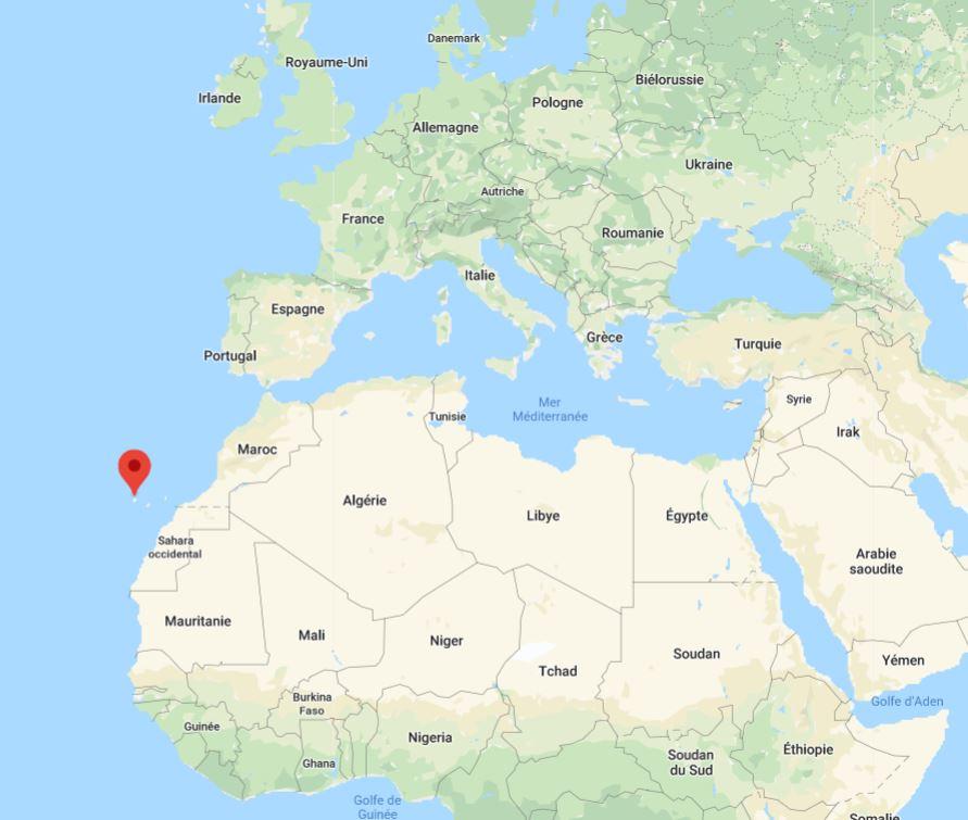 Où se trouve les Îles Canaries sur une carte d'Afrique / Europe