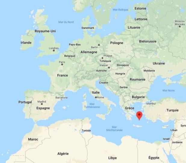 Santorin sur une carte d'Europe