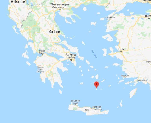 Santorin sur une carte de Grèce